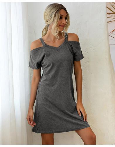 Gray Off-the-shoulder V-neck short-sleeved loose dress