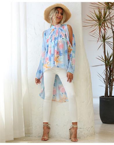 Blue Round neck print raglan sleeve sun protection chiffon shirt