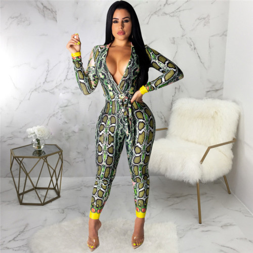 Yellow Sexy fashion print long sleeve V-neck Jumpsuit