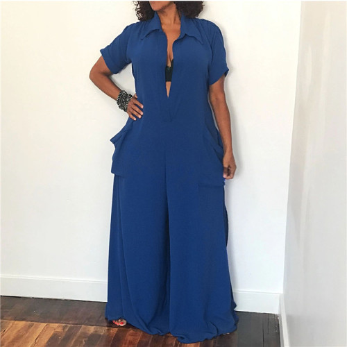 Dark Blue Hot selling sexy fashion loose women's Jumpsuit