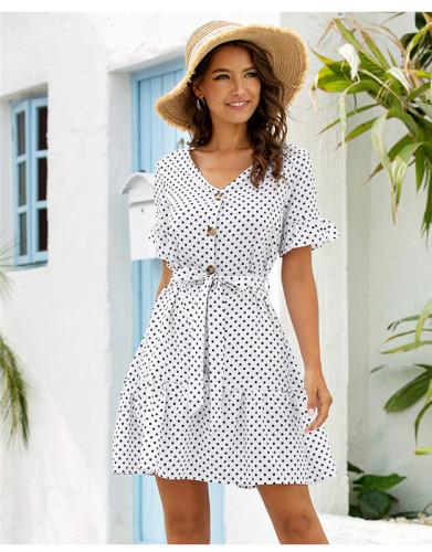 White Casual ruffle sleeve dress