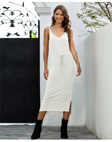 White Solid color high waist tether sexy slim dress