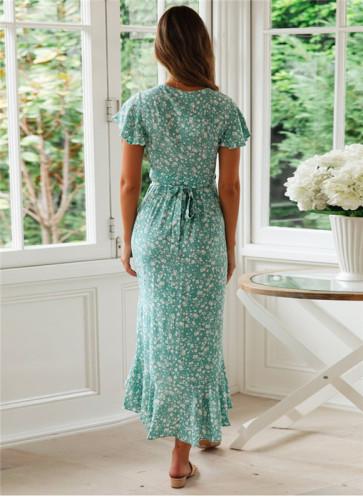 Green Printed lace irregular dress