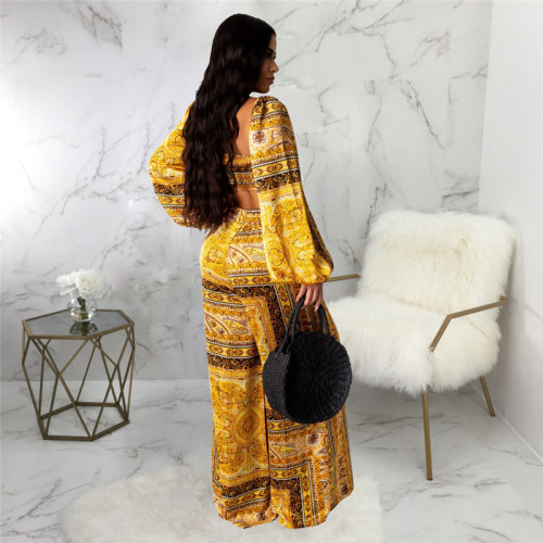 Yellow Two piece suit with fashionable print and chest wrapping stitching
