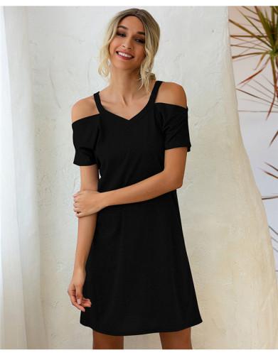Black Off-the-shoulder V-neck short-sleeved loose dress