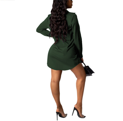 Green Sexy fashion classic solid color shirt dress
