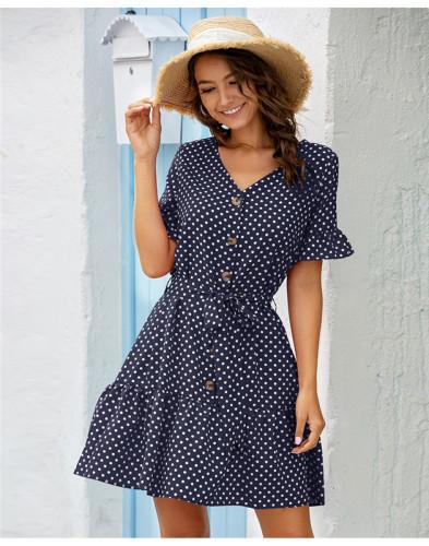 Blue Casual ruffle sleeve dress