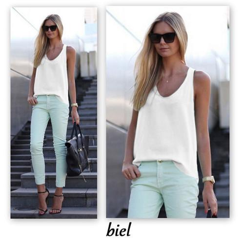 White Solid color sleeveless suspender chiffon shirt