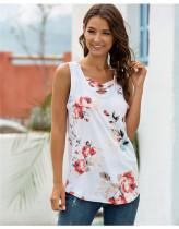 White V-neck cross-print T-shirt tank top