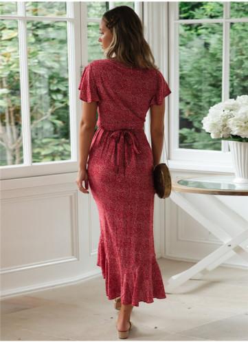 Red Printed lace irregular dress