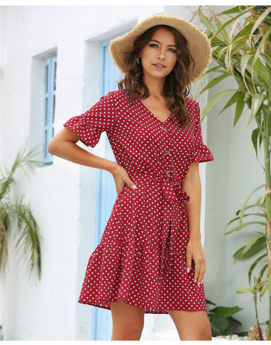 Red Casual ruffle sleeve dress