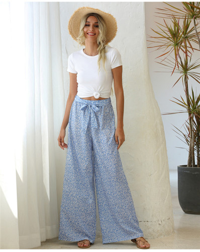 Blue Loose printed wide leg trousers belt trousers