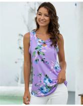 Purple V-neck cross-print T-shirt tank top