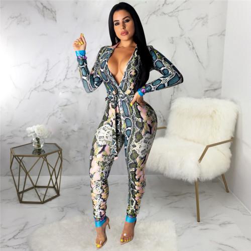 Blue Sexy fashion print long sleeve V-neck Jumpsuit