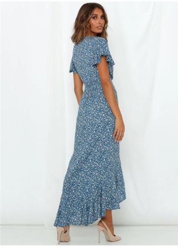 Blue 2 Printed lace irregular dress