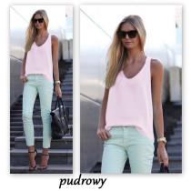 Pink Solid color sleeveless suspender chiffon shirt