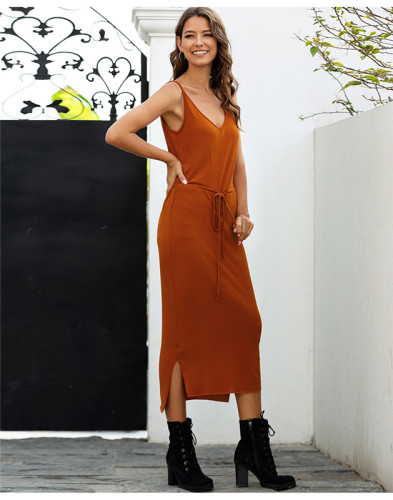 Red Solid color high waist tether sexy slim dress