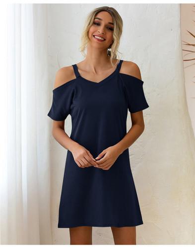 Blue Off-the-shoulder V-neck short-sleeved loose dress