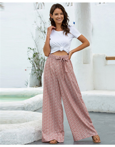 Pink Loose printed wide leg trousers belt trousers