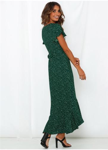Dark Green Printed lace irregular dress