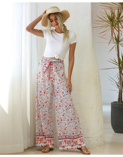 Flower Loose printed wide leg trousers belt trousers