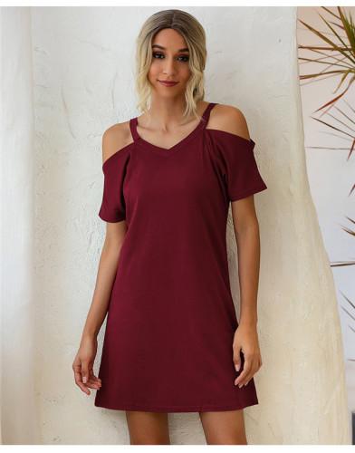 Red Off-the-shoulder V-neck short-sleeved loose dress