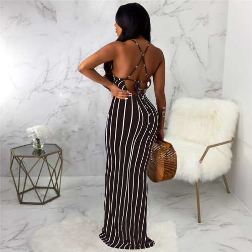Black Sexy and fashionable open back dress with tie neck