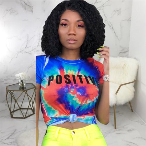 Blue Sexy fashion printed high stretch T-shirt
