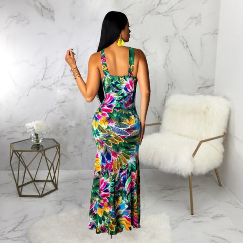 Sexy fashion print V-neck dress with drawstring