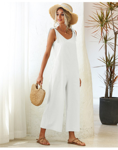 White Tie wide loose straight leg solid color one-piece overalls