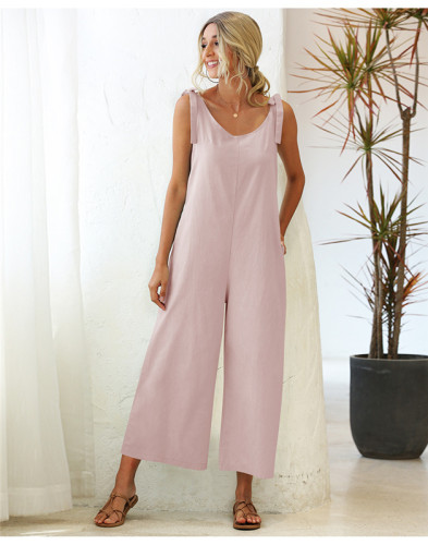 Pink Tie wide loose straight leg solid color one-piece overalls