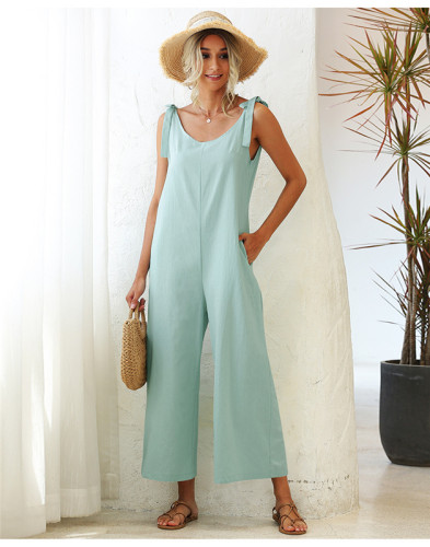 Green Tie wide loose straight leg solid color one-piece overalls
