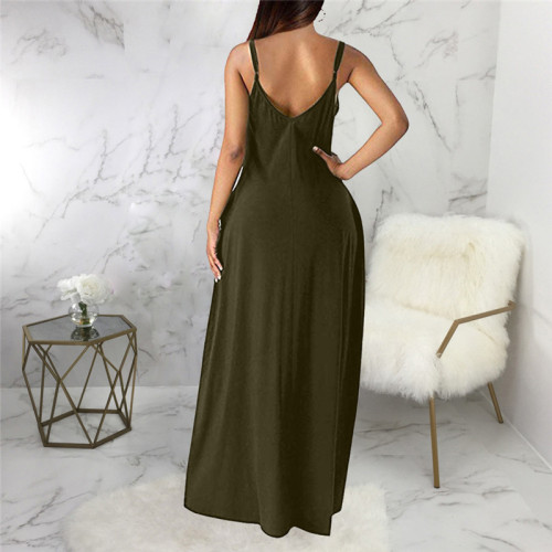 Olive Green Sexy and fashionable summer loose sleeveless V-neck dress