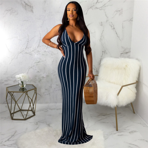 Dark Blue Sexy and fashionable open back dress with tie neck