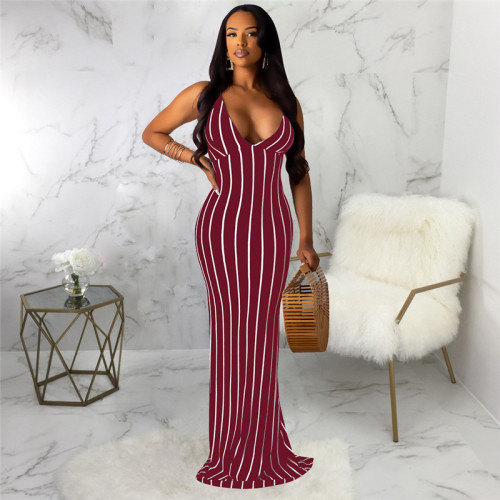 Claret Sexy and fashionable open back dress with tie neck