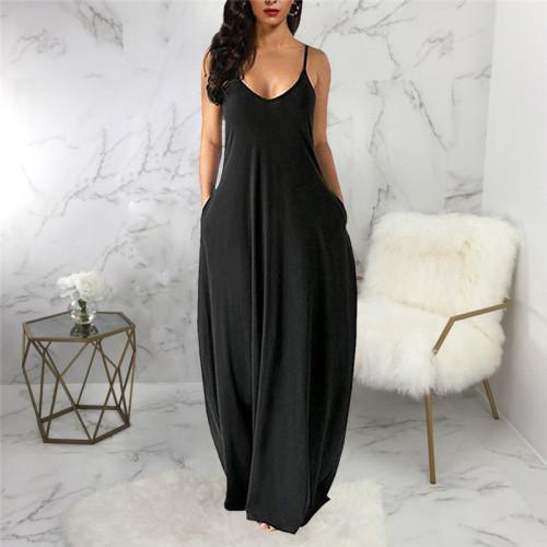Black Sexy and fashionable summer loose sleeveless V-neck dress