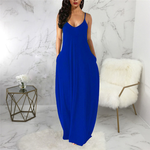 Blue Sexy and fashionable summer loose sleeveless V-neck dress