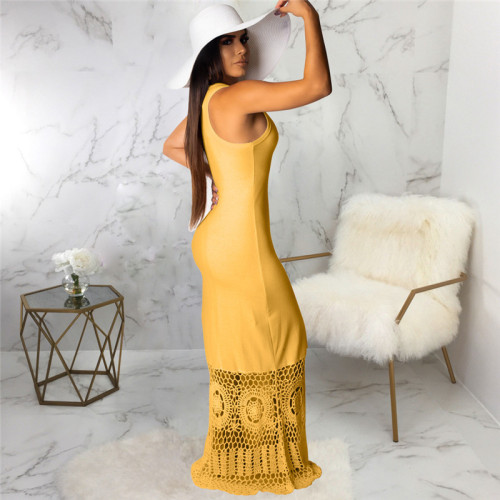 Yellow Sexy fashion Pullover dress