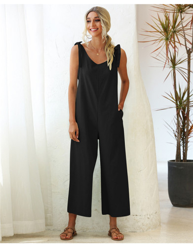 Black Tie wide loose straight leg solid color one-piece overalls