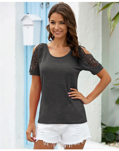 Gray Hollow solid color casual short-sleeved T-shirt
