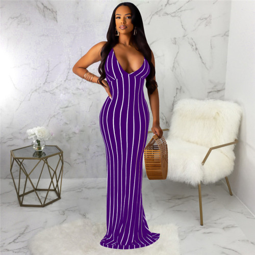 Purple Sexy and fashionable open back dress with tie neck