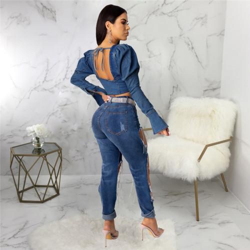Blue Sexy fashion short women's slim denim top