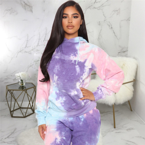 Purple Two piece leisure fashion tie dye printed sports suit