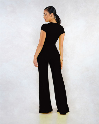 Black Sexy fashion classic solid two piece suit