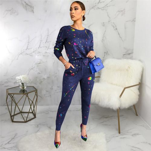 Blue Two piece leisure fashion printing set