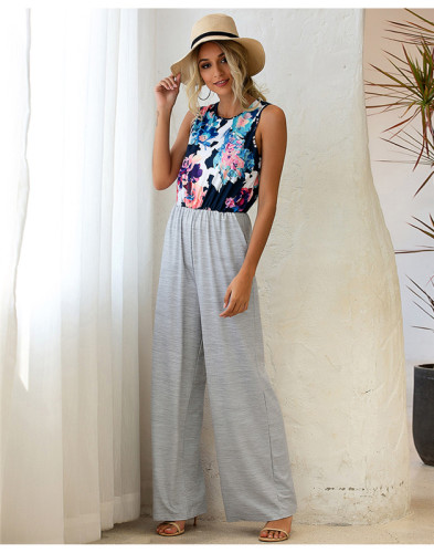 Gray Round neck printed vest fashion loose jumpsuit