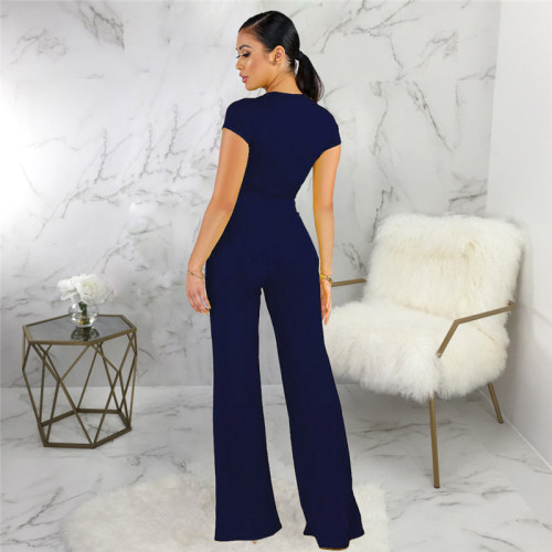 Dark Blue Sexy fashion classic solid two piece suit