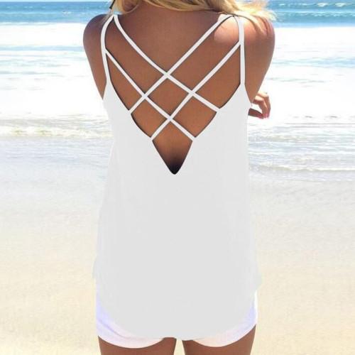 White Sexy halter cross straps