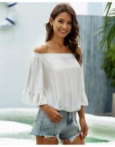 White One shoulder loose flared sleeve chiffon shirt