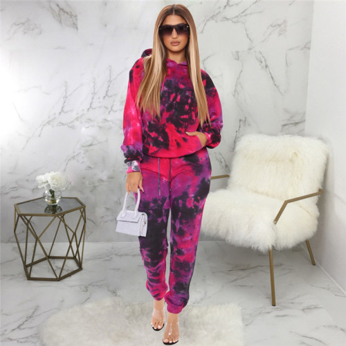 Red Two piece leisure fashion tie dye printed sports suit